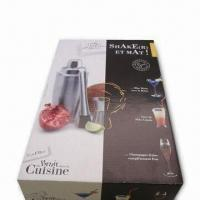 Quality 3 Pieces Stainless Steel Barware Set with Paper Box and 550mL Capacity for sale
