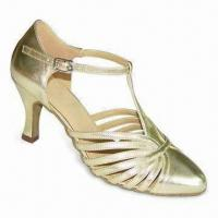 Quality Dance/Latin Shoes with Gold Patent, Made of Leather Suede Sole for sale