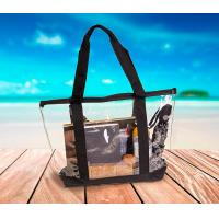Travel & Gym Zippered Tote Bag with Full Zipper Closure Top Transparent Front Pocket and Sturdy handles