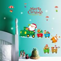 Buy Indoor Decoration Christmas Wall Stickers PVC 3D Santa Claus Drive Train Pattern at wholesale prices