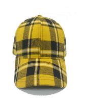 China Plaid 6 Panel Checkered Baseball Cap , Fashion Sports Fitted Hats 58cm Size on sale