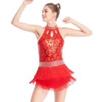 Quality Floral Sequins Tap Costume Mock Neck Dance Dress 3 Rows Fringes Jazz Performance Wear for sale