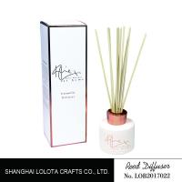 China White Painting Round Bottle Home Reed Diffuser With Simple Folding Box for sale