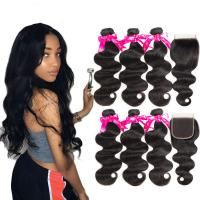 Quality Soft Cambodian Virgin Hair Body Wave 10A Double Weft Bundles With Top Lace Closure for sale