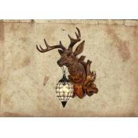 Quality Maso Buck Head Wall Lamp Retro Style For Hotel KTV Installing Decoration LED E14 Lighting Base Resin Material MS-W2010 for sale