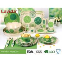 Quality Green Color Bamboo Fiber Dinnerware , Waterproof Non - Odor Bamboo Fiber Dishes for sale