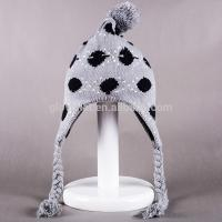 2017 hot sale100%Acrylic 33*20cm fabric jacquard top fashion studded Deluxe Peruvian caps with Pom Knitting Earflap Hats