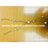 China 18 Plastic Beaded Pearl Necklace / Round Silver , White Bead Necklace on sale