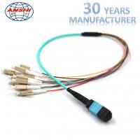 China Multimode MPO OM3 Optical Fiber Patch Cord Mpo Connector Fanout 12 Core on sale