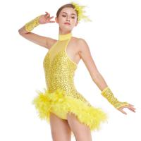 Quality Mock Neck Sequins Jazz Costume Feather Trimmed Dance Dress Illusion Deep-V Joints Performance Wear for sale
