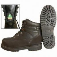Quality Safety Boots with Genuine Cow Leather, Black Mesh Lining and Steel Toe Protection for sale