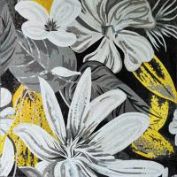 Quality White Magnificent Floral Glass Mosaic Wall Art , Craft Mosaic Tile Floor Patterns for sale
