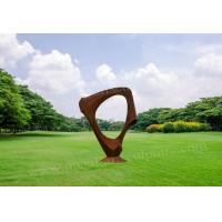China Art Craft Modern Circle Corten Steel Sculpture Cutting & Welded Design for sale