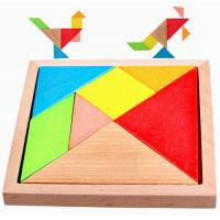 Quality Colorful Painted Natural Wooden Toys Funny Tangram Puzzle Toys 140 X 140 X 20 mm for sale