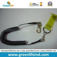 China Safe Wire Cable Spring Coiled Tether W/Magic Tape&Hook on sale