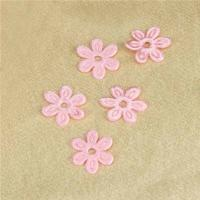 Quality Pink Satin Ultrasonic Embossing Flowers Crafts Party Decoration Cloth Appliques for sale