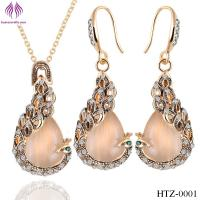 China Fashion Opal peacock Jewelry Sets rhinesstone peacock necklace earrings on sale