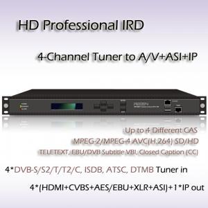 China Digital TV 4-Channel HD Professional IRD ISDB-T Demodulation SD/HD MPEG-2 and MPEG-4 AVC/H.264 digital video decoding on sale