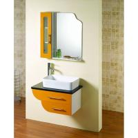 Square Bathroom Sink With Cabinet : Square shape floating bathroom sink cabinets modern with 5mm silvered ...