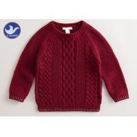 Multi Cable Knitting Girls Long Sleeve Sweaters , Girls Red Sweater Side Slit