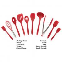 Quality Customized Logo Print Silicone Kitchen Utensils Soft Food Grade Safe Colorful Red Color for sale