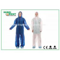Quality Nonwoven White Disposable Overalls PP / SMS / PP + PE Protective Coverall With Hood for sale