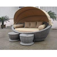 Quality Luxury Comfortable Roofed Cane Daybed , Wicker Garden Oval Daybed for sale