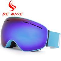 Cool Blue Frameless Ski Goggles For Night And Day With Dual Layer Foam