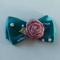 Quality Casual Toddler Girl Hair Accessories Satin Ribbon Bow With Handmade Flower for sale