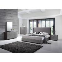 Quality Modern Strong Structure Flat Pack Bedroom Furniture With Grey High Gloss Bedside Cabinet for sale