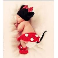 China Newborn Baby Photo Prop Crochet Custom Mickey Mouse Photography Back Drop Props Clothing Sets on sale