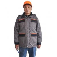Two Tone Safety Heavy Duty Winter Work JacketWith Storm Pockets And Padding Hood
