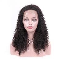 Quality Jet Black Real Virgin Hair Lace Wigs , 100 Human Full Lace Wigs Kinky Curly for sale