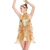 4 Colors Stunning Tap Costume Sequined-Fringes Mock Neck Dance Dress Performance Wear