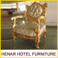 Quality Luxury Commercial Hotel Golden Wood King Throne Chair for Lobby European Style for sale