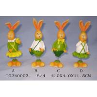 Quality Colorful Polyresin Figurine Easter Rabbit Figurines With Spring 4 X 4 X 11.5 Cm for sale