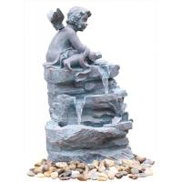 China Angel On Rock Waterfall Resin Garden Fountains with LED Light Anchor Falls Cascading on sale