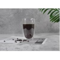 China Clear Double Wall Glass Mug , Double Insulated Coffee Mugs Decal Printing Logo for sale