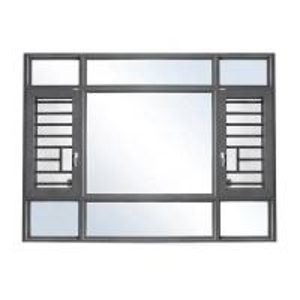 China utench grey color aluminium double glazed windows with burglar proof bar on sale