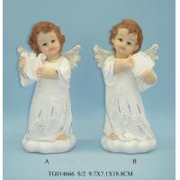 China Gold Wings Polyresin Figurine , Small Beautiful Baby White Angel Statues Figurines on sale