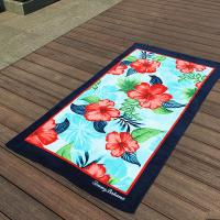 Quality Hibiscus Flower Promotional Beach Towels Rectangular With Multi - Function for sale