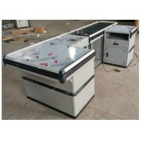 Buy cheap Customized White Supermarket Checkout Counter With No Rusting Powder Plated from wholesalers