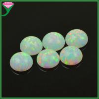 Quality price of lab created white round cabochon flat bottom fire opal stone for sale