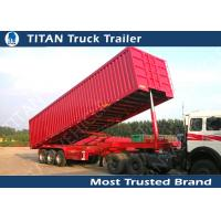 Quality Triple Axles 60 - 80 Ton Construction Dump Trailer Hydraulics , Sand dumping trailer for sale