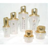 OEM White frosted  Cosmetic Packaging Glass Bottles and Jars with cap and pump