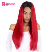 Quality Human Natural Hair Full Lace Wigs Silky Straight 1B Red Ombre Color 8A for sale