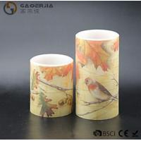 Eco Friendly Birds Paradise Water Sticker Flameless Led Candles With Flat Edge