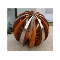 Quality Outdoor Decor Corten Steel Sculpture , Painted Stainless Steel Ball Sculpture for sale