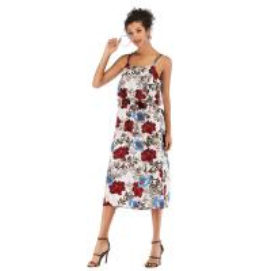Summer Fashion Printing Ladies Casual Beach Dresses Spaghetti Strap Waist Slim Temperament Backless Type