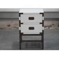 Quality Elegantly Wooden Hotel Bedside Tales With 2 Drawers , Metal Frame for sale